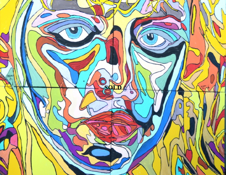 'Frankie Face'  Painting by BB Bango in acrylic 150*120cm  on 4 canvasses. Now Sold.
