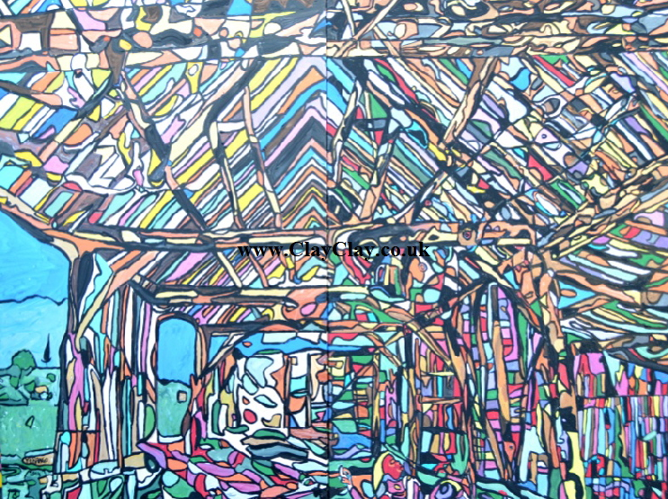 'Dutch Barn 4'  Painting by BB Bango in acrylic 150*100cm  on 2 canvasses. For the two £800.