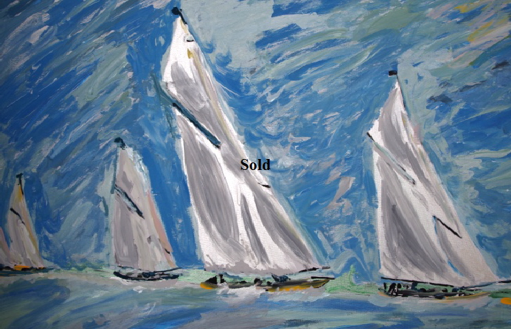 'J Class1' by BB Bango. Acrylic on canvas   36*24 inches Sold.  Also postcards available. This picture painted 4th May 2015 .