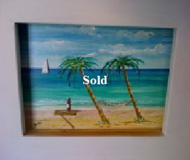 3 dimensional painting by Mike Miller Seaview Based Artist in many mediums onto canvas, card and terracotta. On display in Bembridge shop. £100