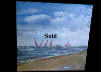 One of a 'Sail on Solent' views on 20*20cm Terracotta Tile. Mike Miller Seaview Based Artist in many mediums onto canvas, card and terracotta. On display in Bembridge shop. £50