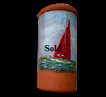 One of a 'Sail on Solent' views on  Terracotta Wine Cooler.Tile. Mike Miller Seaview Based Artist in many mediums onto canvas, card and terracotta. On display in Bembridge shop. £50