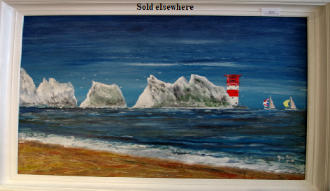 "'The Needles' Painting in acrylic and sand  by Mike Miller Seaview Based Artist Framed 24"" by 19"" On display in Bembridge shop.  Sold"