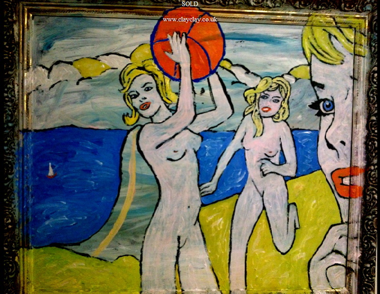 'Beach Nudes' by BB Bango. Acrylic on cardboard  90*60cm SOLD.  Also postcards available. This picture painted 26th March 2013 . Influenced by 'DC Comics Strips from the early 1960 and of course Roy Lichtenstein.