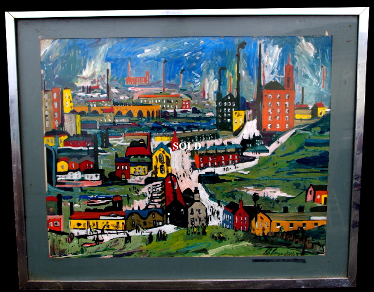 "'Industrial Landscape'    Painting by Lowry Bango in acrylic 30"" by 20"" Sold"