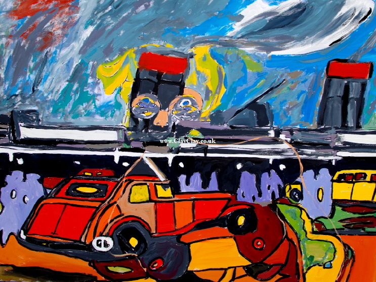 "'Embarkation'   Painting by BB Bango in acrylic 40"" by 32"" £175"