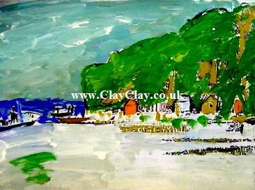'Bembridge Beach' by BB Bango. One of a selection of A4 sized acrylic on paper and framed original photo based paintings £15. On display Bembridge shop. Also postcards available. This picture was painted mid May 2013 .