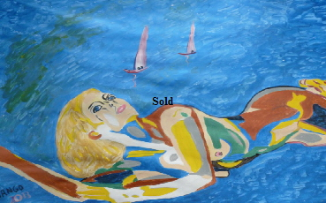 'Sailing Nude by  BB Bango. 50*70cm acrylic on paper and framed.  Also postcards available. This picture was painted September 1st 2013 . Sold