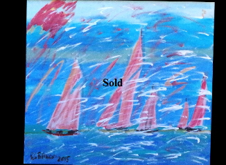 'Five Red Sails' 20 by  30 inches by BB Bango. Aug  2nd 2015 Acrylic on canvas. On display Big Art £100