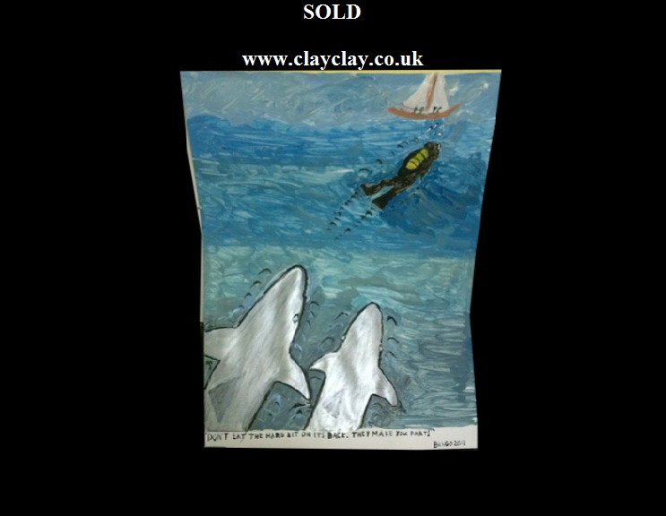 'Sharks and Farts' by BB Bango. Acrylic on paper  framed 40*30cm SOLD.  Also postcards available. This picture painted 16th April 2013 . Influenced by 'Bexley' Card artist
