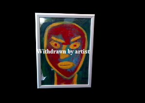 'Aztec Man' by Vince Richards (Ryde based artist) Framed and glass. Acrylic on on paper 40*30cm £85.  Also postcards available.