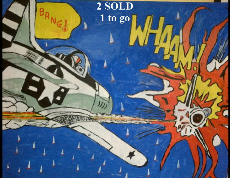 'Whaam over the Solent 2' by BB Bango. Acrylic on camvas  90*60cm £60. On display Bembridge shop. Also postcards available. This picture painted 31st March 2013 is the second one in the Whaam series and can be personalised by putting whatever name you like on the cockpit surround. Influenced by 'All American Men of War' Comic No.89 1962 DC comics and of course Roy Lichtenstein.