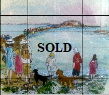Original art jigsaw. St Helens Fort Walk by Liz Fletcher on  display in the Bembridge ClayClay Shop. along with many of her other paintings