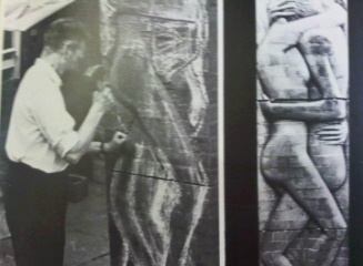 Walter Ritchie sculpting low relief in brickwork. 'Brick is love' 1973