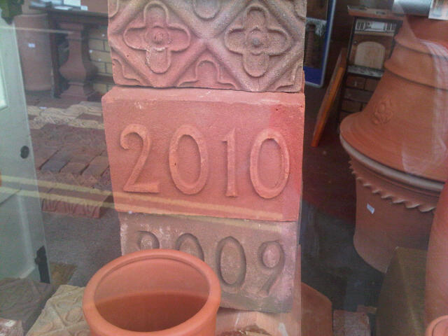 York Handmade Date Block 135mm high, 215mm long (replaces two bricks). numerals imprinted or out dented. Your own personailsed ones also made up. All year date blocks available for last 20 years or years made to order. Generally £15 each for current year, from £10 each for past years