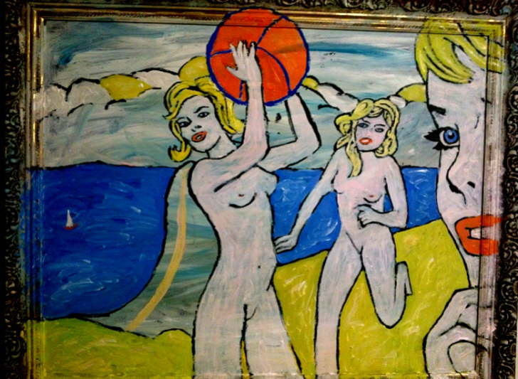Beach Nudes on Bembridge Beach inspired by Roy Lichtenstein 590*900mm £85 Can be personalised to your own colours and annotation