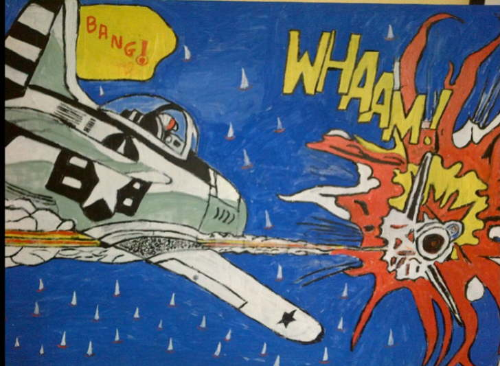 Acrylic on canvas Whaam over Bembridge inspired by Roy Lichtenstein 590*900mm £75. This original painting can be personalised to order including changing pilot name, putting your house in image or sail boat etc