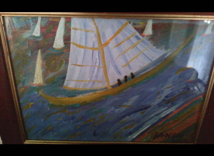 Acrylic on paper Framed Big Sail boat 1 Framed' 400*500mm £40
