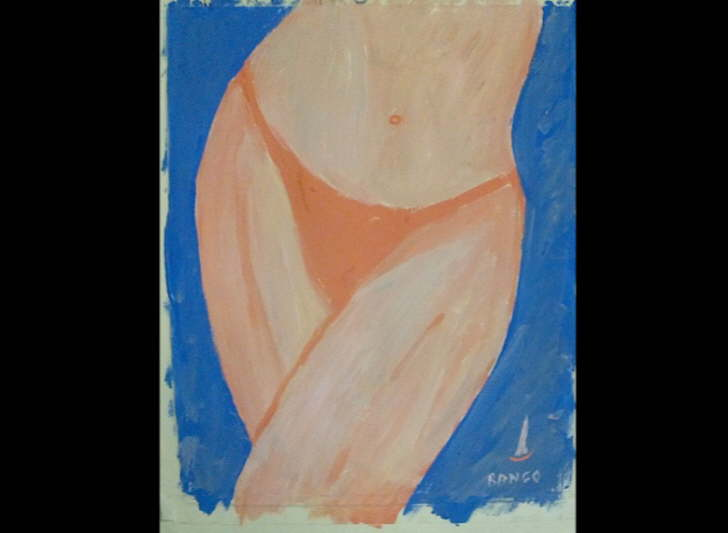 Acrylic on paper Bikini 1 Framed' Inspired by Chuck Miller 400*500mm £30