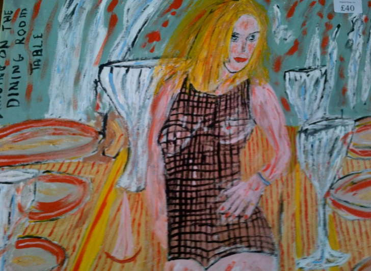 Acrylic on canvas Dancing on the Dining Room table. Taken from EspadaRolls Tacky music videos DVD 500*400mm  £30 Can be personalised to your own colours and annotation including your own photos used as part of this orignal art work