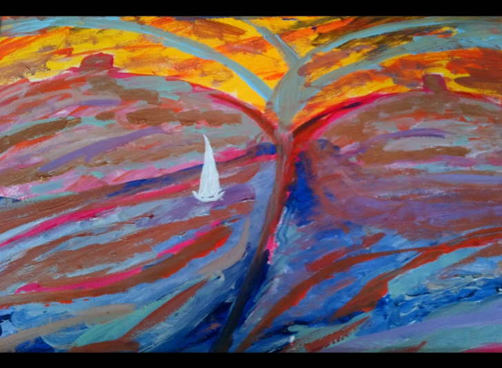 Acrylic on Paper Framed 500*600mm Sails Eruption £75