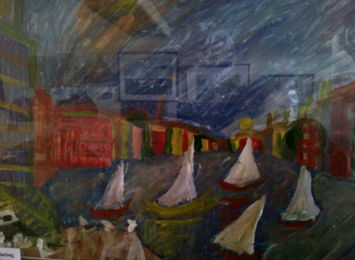 Acrylic on Paper Framed 400*500mm Sail Houses £45