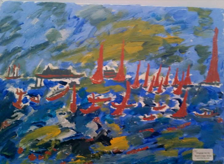 Acrylic on canvas 300*400mm Solent Sail 2 £35 Unfinished