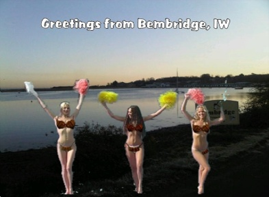 ClayClay, is in Bembridge. Isle of Wight These models are wearing Brikinis made of mini bricks in front of Bembridge Harbour.