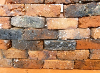 Handmade Wight 'Maxi' bricks in a makeshift wall.  Each brick 48*24*16mm