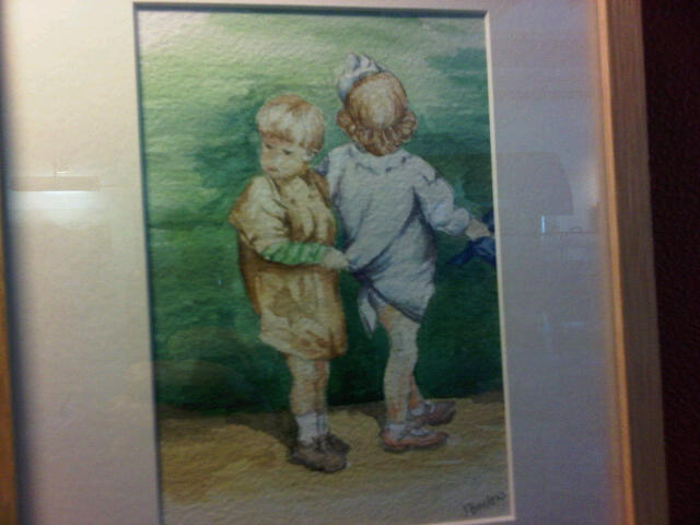 "Juliet Bristow Boy holding sisters hand looking worried. 4.5"" by 7"" Watercolour on paper £35  On display in Lymington"