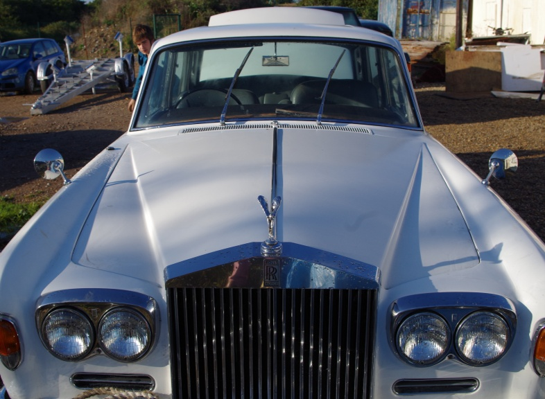 Wight Rolls Royce Silver Shadow 1969 Wedding Car complete with uniformed chauffeur and personalisation (Bride and Groom pictures on doors and bonnet etc). �150 per Wedding to Church or Registry Office and back to Reception (anywhere on  Isle of Wight)
