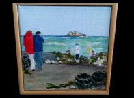 Liz Fletcher Acrylic on Canvas St Helens fort View  20*20cm £125 On display in Bembridge Shop.
